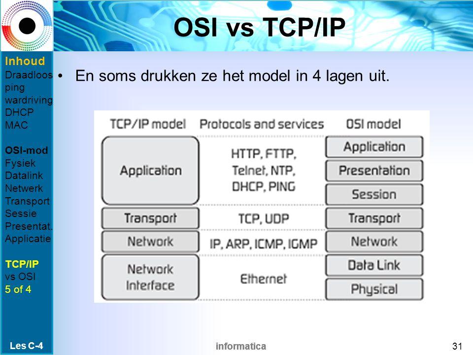 informatica OSI vs TCP/IP Les C-4 31 En soms drukken ze het model in 4 lagen uit.