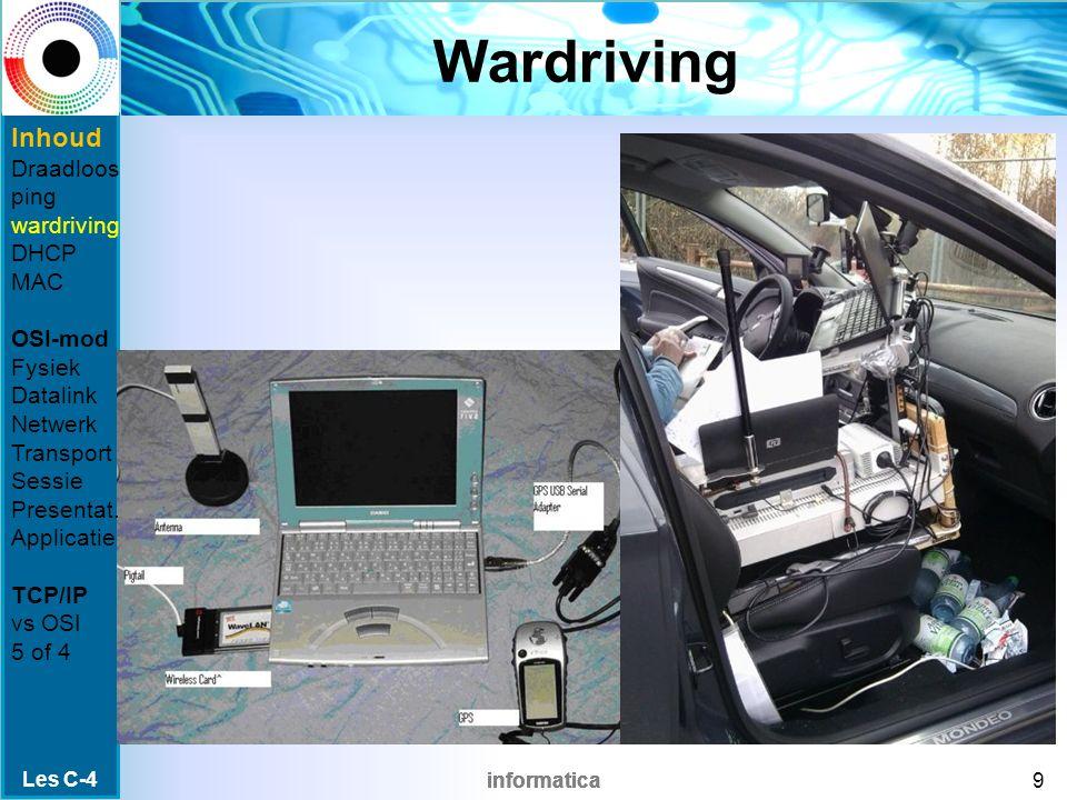 informatica Wardriving Les C-4 9 Inhoud Draadloos ping wardriving DHCP MAC OSI-mod Fysiek Datalink Netwerk Transport Sessie Presentat.
