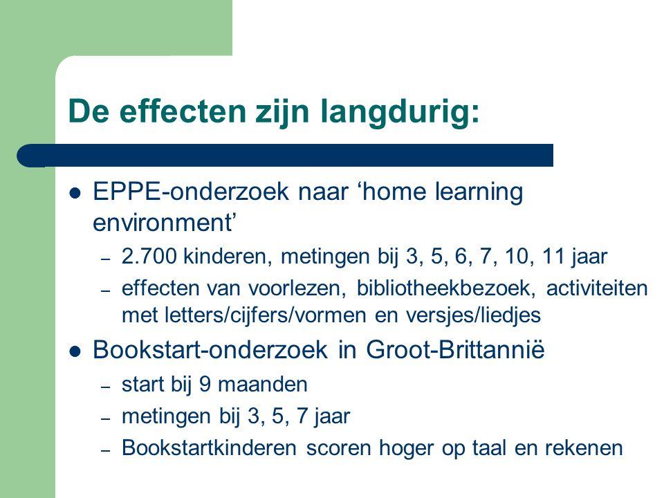 De effecten zijn langdurig: EPPE-onderzoek naar 'home learning environment' – 2.700 kinderen, metingen bij 3, 5, 6, 7, 10, 11 jaar – effecten van voor