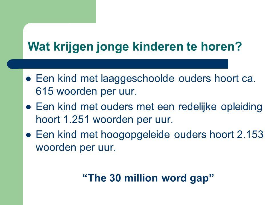 Wat krijgen jonge kinderen te horen? Een kind met laaggeschoolde ouders hoort ca. 615 woorden per uur. Een kind met ouders met een redelijke opleiding