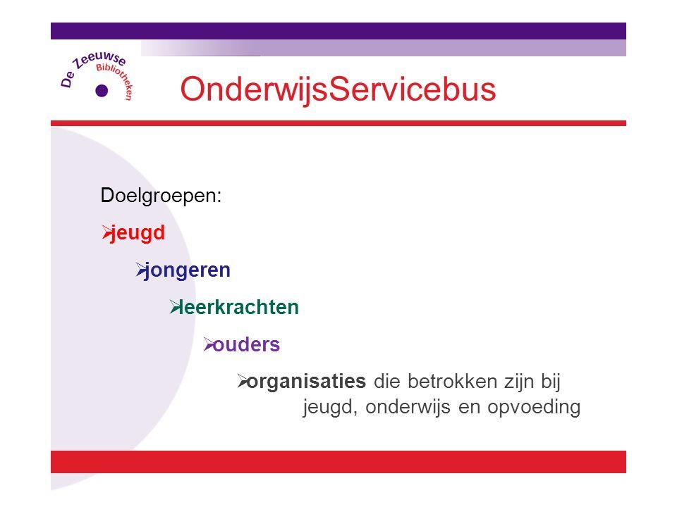 OnderwijsServicebus Doelgroepen:  jeugd  jongeren  leerkrachten  ouders  organisaties die betrokken zijn bij jeugd, onderwijs en opvoeding