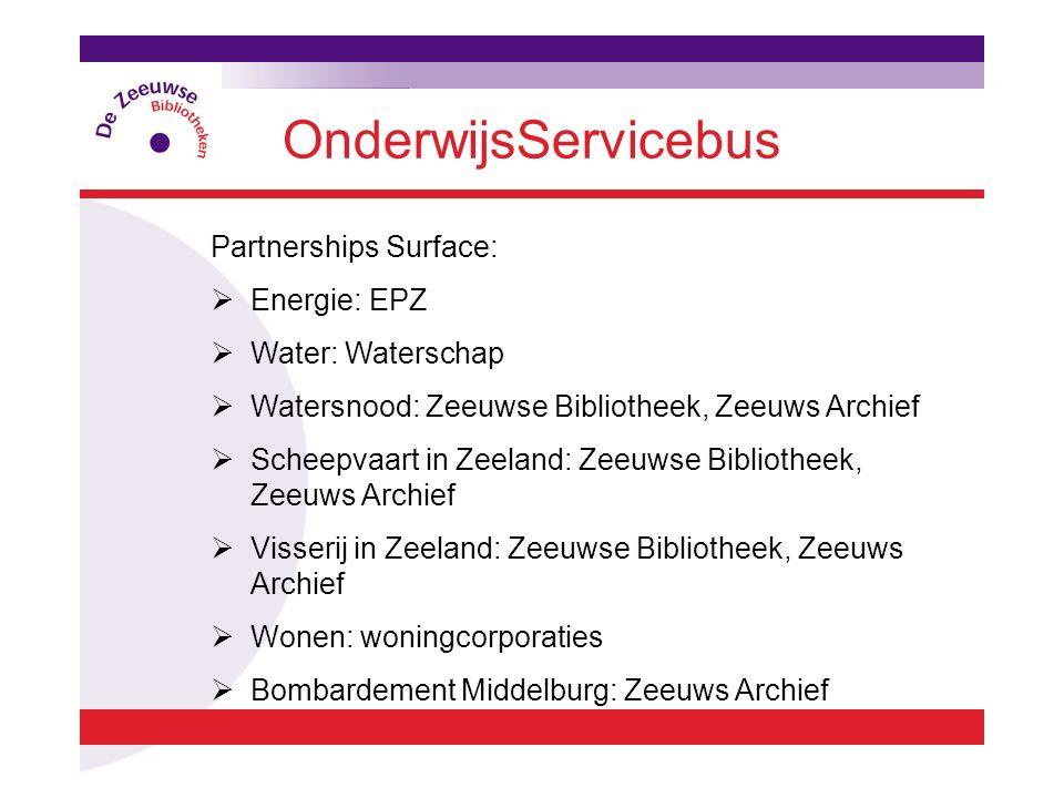 OnderwijsServicebus Partnerships Surface:  Energie: EPZ  Water: Waterschap  Watersnood: Zeeuwse Bibliotheek, Zeeuws Archief  Scheepvaart in Zeelan