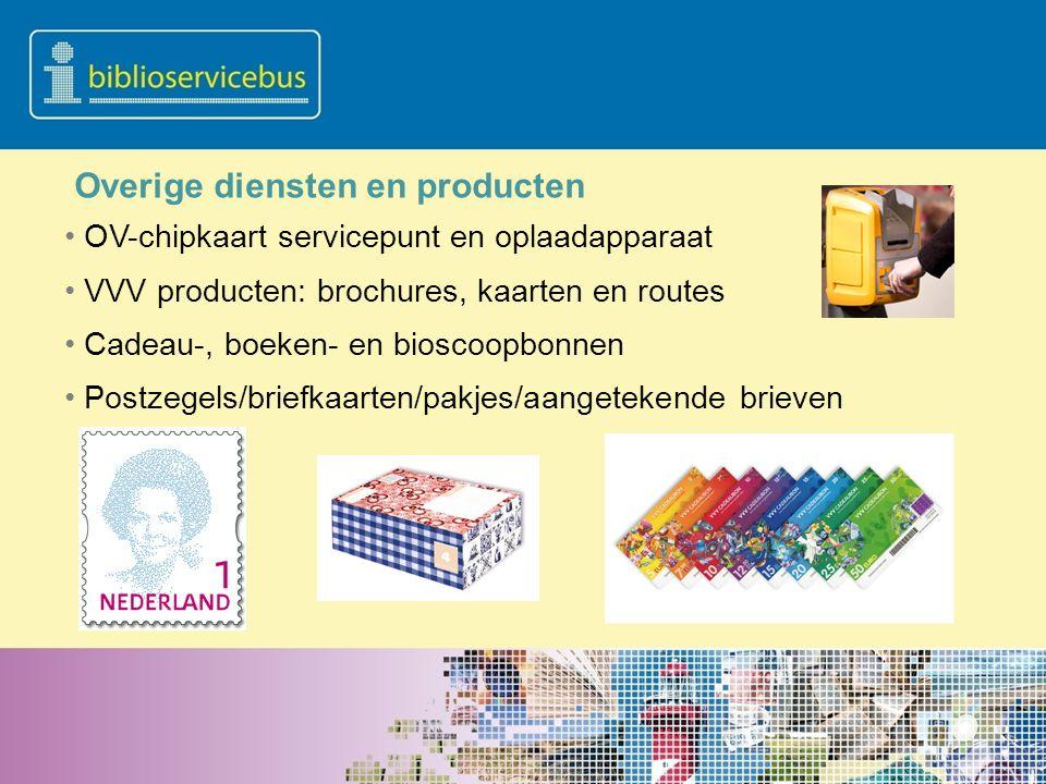 OV-chipkaart servicepunt en oplaadapparaat VVV producten: brochures, kaarten en routes Cadeau-, boeken- en bioscoopbonnen Postzegels/briefkaarten/pakj