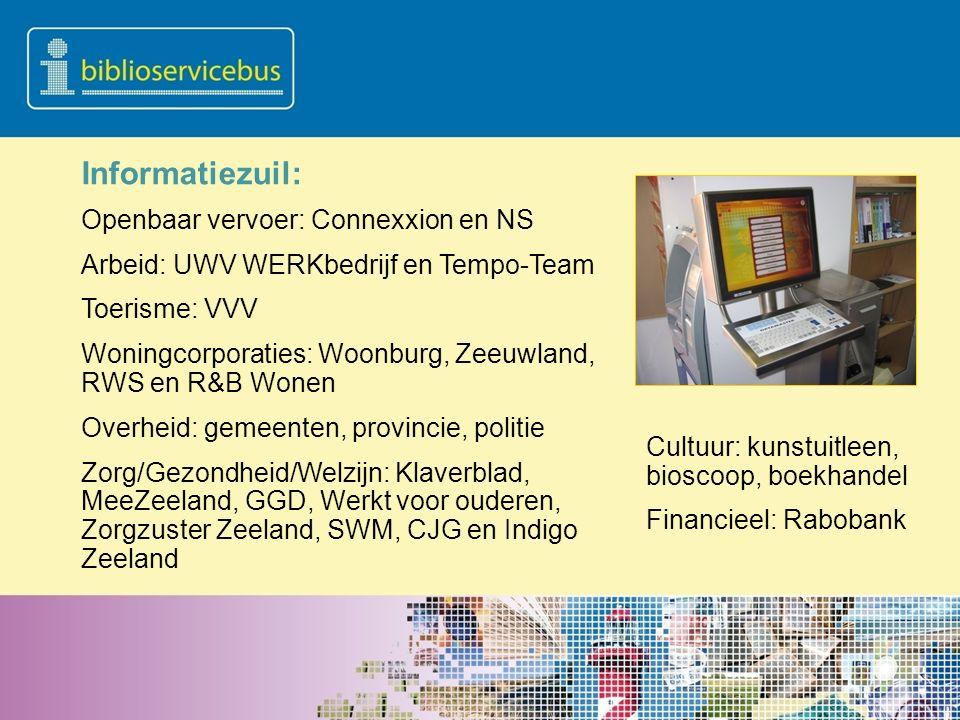 Informatiezuil: Openbaar vervoer: Connexxion en NS Arbeid: UWV WERKbedrijf en Tempo-Team Toerisme: VVV Woningcorporaties: Woonburg, Zeeuwland, RWS en