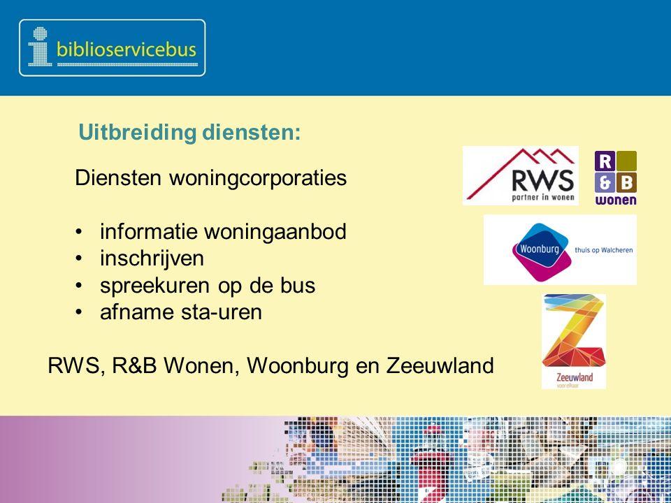 Uitbreiding diensten: Diensten woningcorporaties informatie woningaanbod inschrijven spreekuren op de bus afname sta-uren RWS, R&B Wonen, Woonburg en