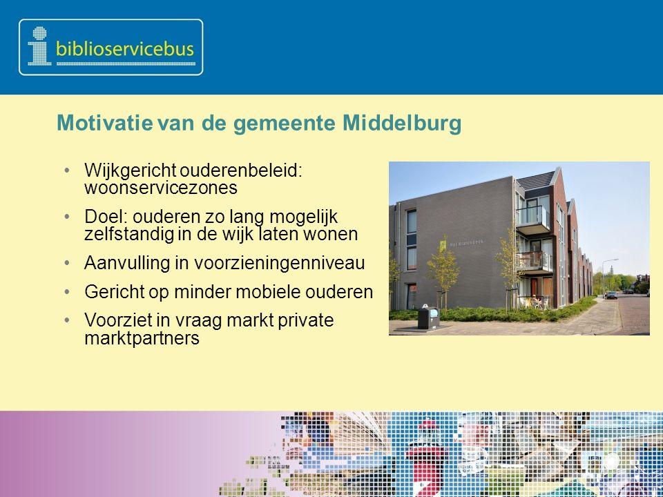 Motivatie van de gemeente Middelburg Wijkgericht ouderenbeleid: woonservicezones Doel: ouderen zo lang mogelijk zelfstandig in de wijk laten wonen Aan