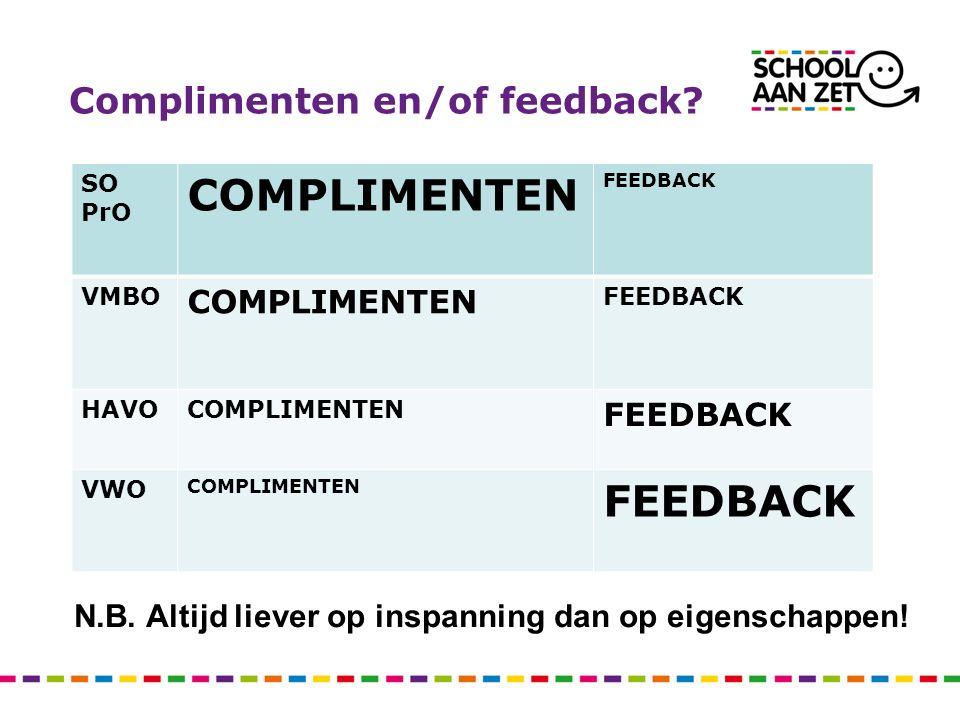 Complimenten en/of feedback.