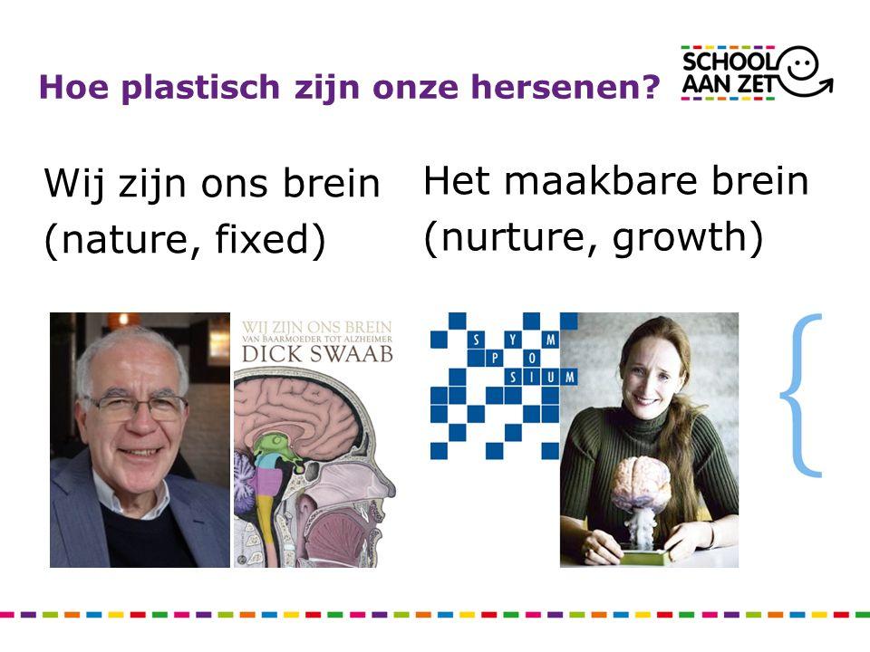 Wij zijn ons brein (nature, fixed) Het maakbare brein (nurture, growth) Hoe plastisch zijn onze hersenen?
