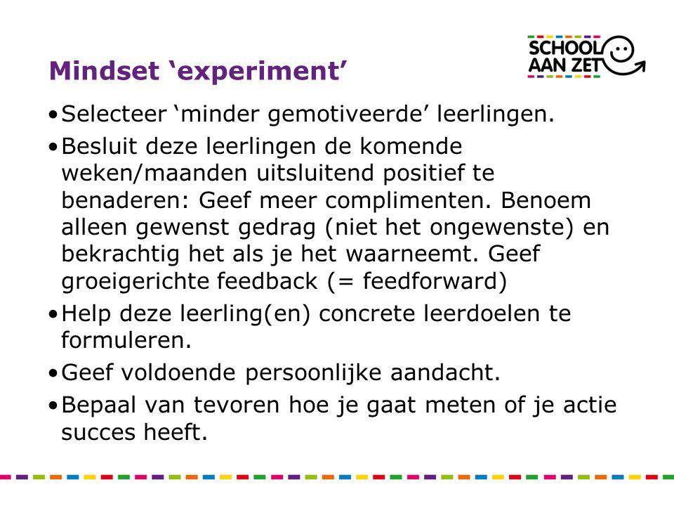 Mindset 'experiment' Selecteer 'minder gemotiveerde' leerlingen. Besluit deze leerlingen de komende weken/maanden uitsluitend positief te benaderen: G