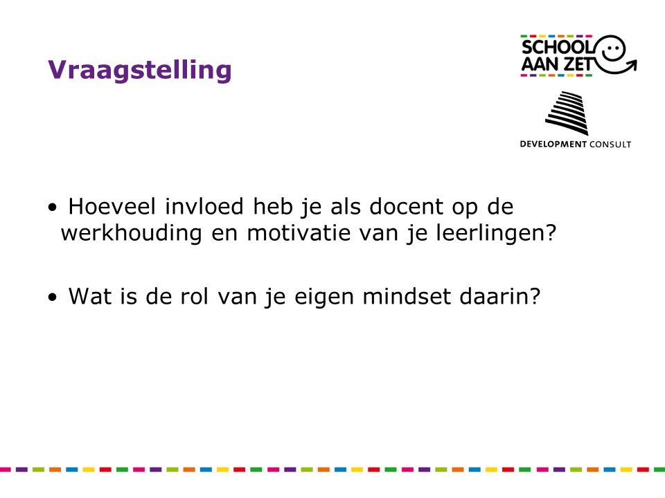 Vraagstelling Hoeveel invloed heb je als docent op de werkhouding en motivatie van je leerlingen? Wat is de rol van je eigen mindset daarin?