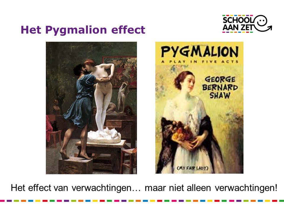 Het Pygmalion effect Het effect van verwachtingen… maar niet alleen verwachtingen!