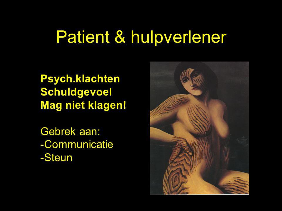 Patient & hulpverlener Psych.klachten Schuldgevoel Mag niet klagen.