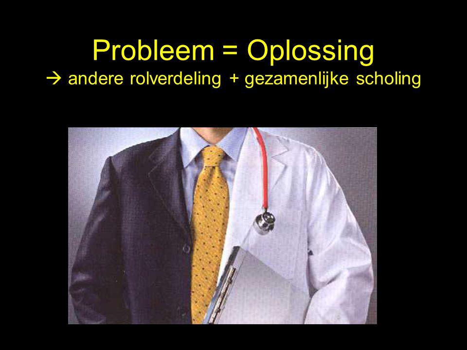 Probleem = Oplossing  andere rolverdeling + gezamenlijke scholing