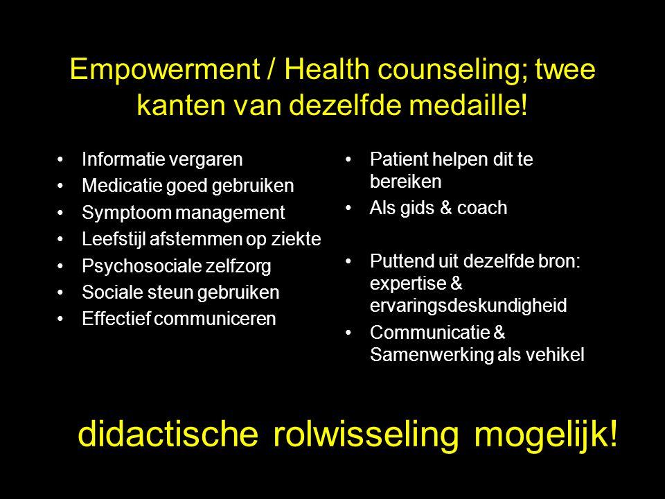 Empowerment / Health counseling; twee kanten van dezelfde medaille.