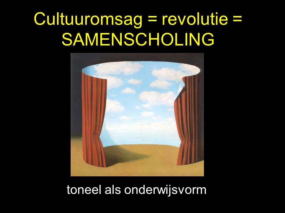 Cultuuromsag = revolutie = SAMENSCHOLING toneel als onderwijsvorm