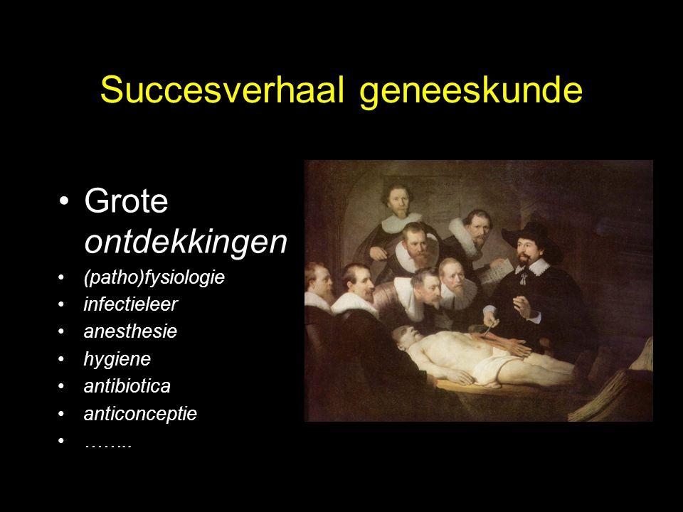 Succesverhaal geneeskunde Grote ontdekkingen (patho)fysiologie infectieleer anesthesie hygiene antibiotica anticonceptie ……..
