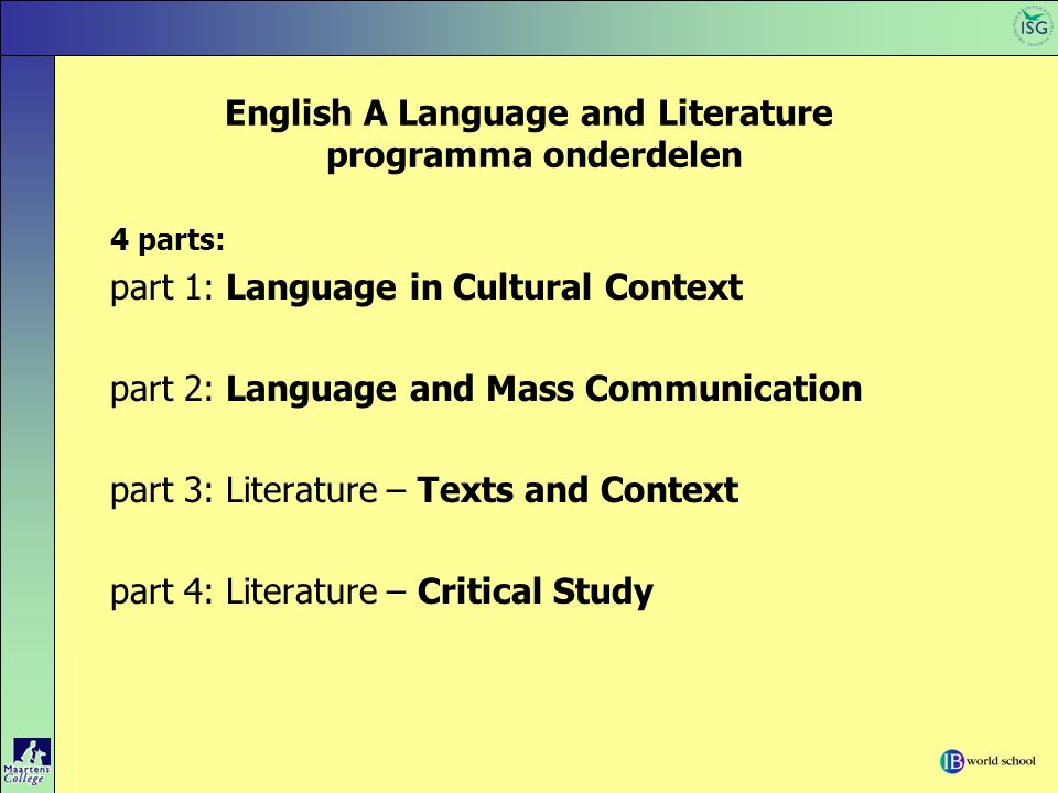 English A Language and Literature programma onderdelen 4 parts: part 1: Language in Cultural Context part 2: Language and Mass Communication part 3: L