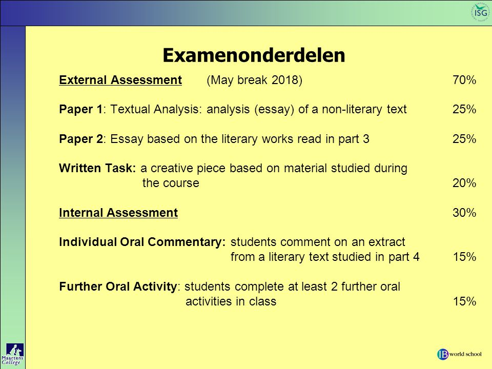 Examenonderdelen External Assessment(May break 2018)70% Paper 1: Textual Analysis: analysis (essay) of a non-literary text25% Paper 2: Essay based on