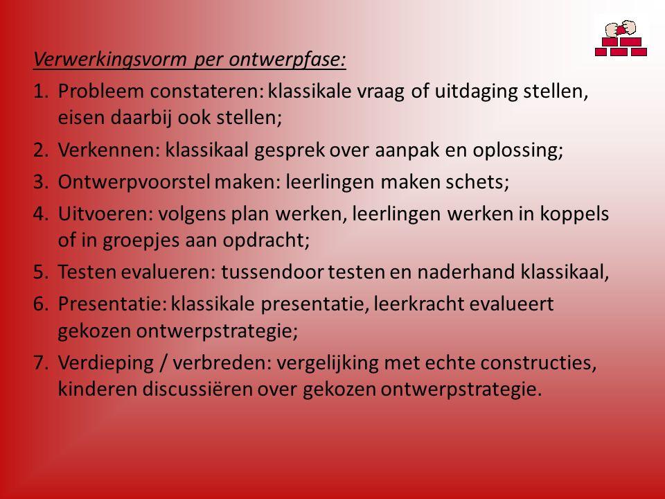 Verwerkingsvorm per ontwerpfase: 1.Probleem constateren: klassikale vraag of uitdaging stellen, eisen daarbij ook stellen; 2.Verkennen: klassikaal gesprek over aanpak en oplossing; 3.Ontwerpvoorstel maken: leerlingen maken schets; 4.Uitvoeren: volgens plan werken, leerlingen werken in koppels of in groepjes aan opdracht; 5.Testen evalueren: tussendoor testen en naderhand klassikaal, 6.Presentatie: klassikale presentatie, leerkracht evalueert gekozen ontwerpstrategie; 7.Verdieping / verbreden: vergelijking met echte constructies, kinderen discussiëren over gekozen ontwerpstrategie.