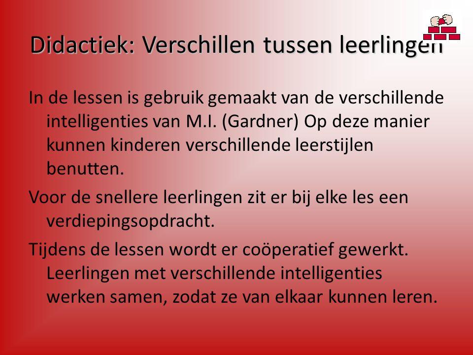 Didactiek: Verschillen tussen leerlingen In de lessen is gebruik gemaakt van de verschillende intelligenties van M.I.