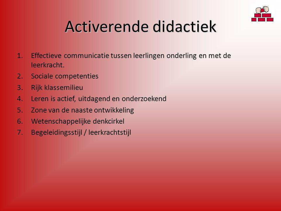 Activerende didactiek 1.Effectieve communicatie tussen leerlingen onderling en met de leerkracht.