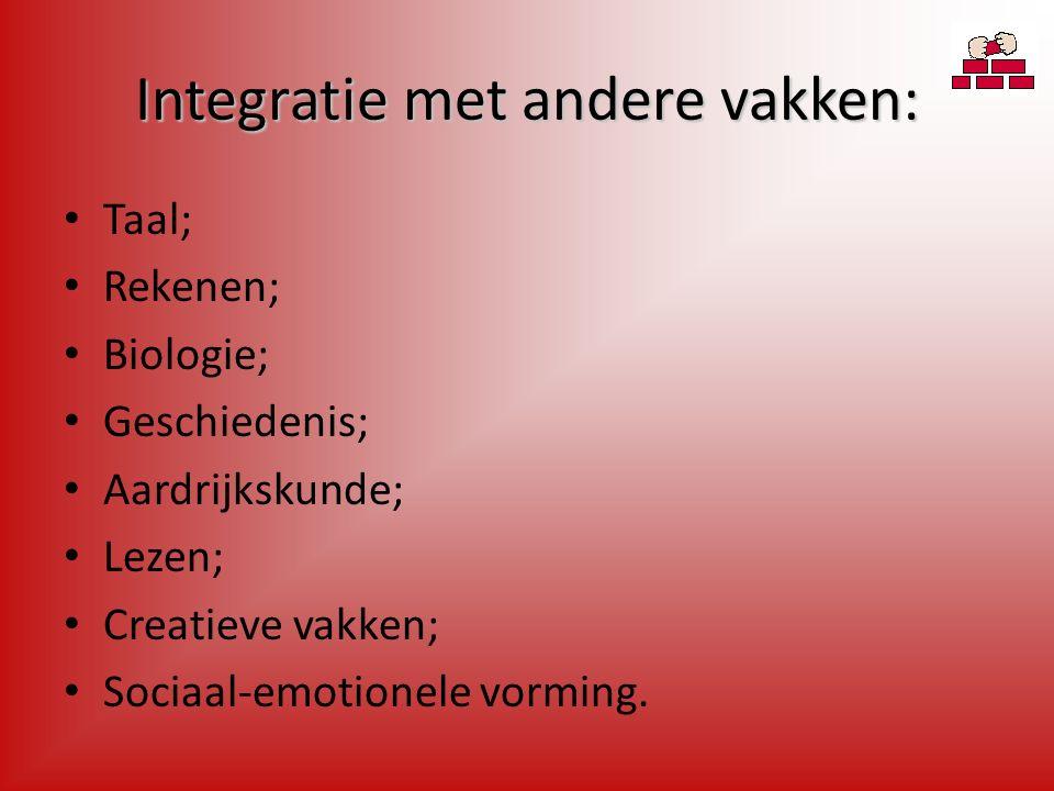 Integratie met andere vakken: Taal; Rekenen; Biologie; Geschiedenis; Aardrijkskunde; Lezen; Creatieve vakken; Sociaal-emotionele vorming.