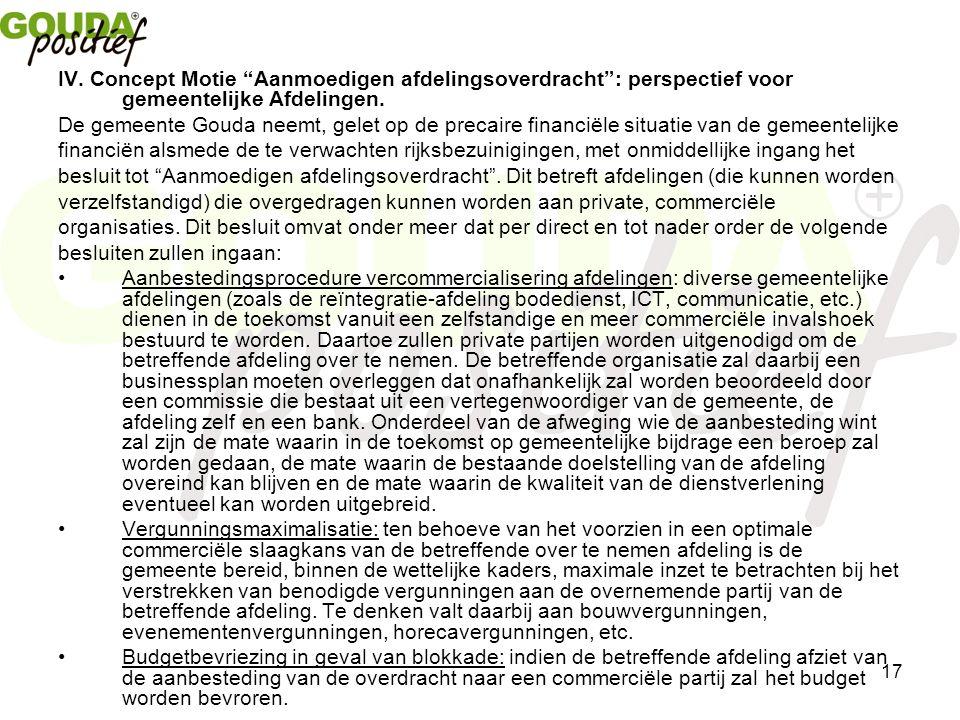17 IV. Concept Motie Aanmoedigen afdelingsoverdracht : perspectief voor gemeentelijke Afdelingen.