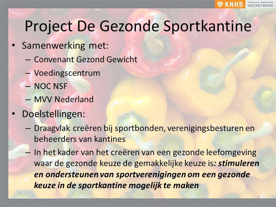 Project De Gezonde Sportkantine Samenwerking met: – Convenant Gezond Gewicht – Voedingscentrum – NOC NSF – MVV Nederland Doelstellingen: – Draagvlak creëren bij sportbonden, verenigingsbesturen en beheerders van kantines – In het kader van het creëren van een gezonde leefomgeving waar de gezonde keuze de gemakkelijke keuze is: stimuleren en ondersteunen van sportverenigingen om een gezonde keuze in de sportkantine mogelijk te maken 3