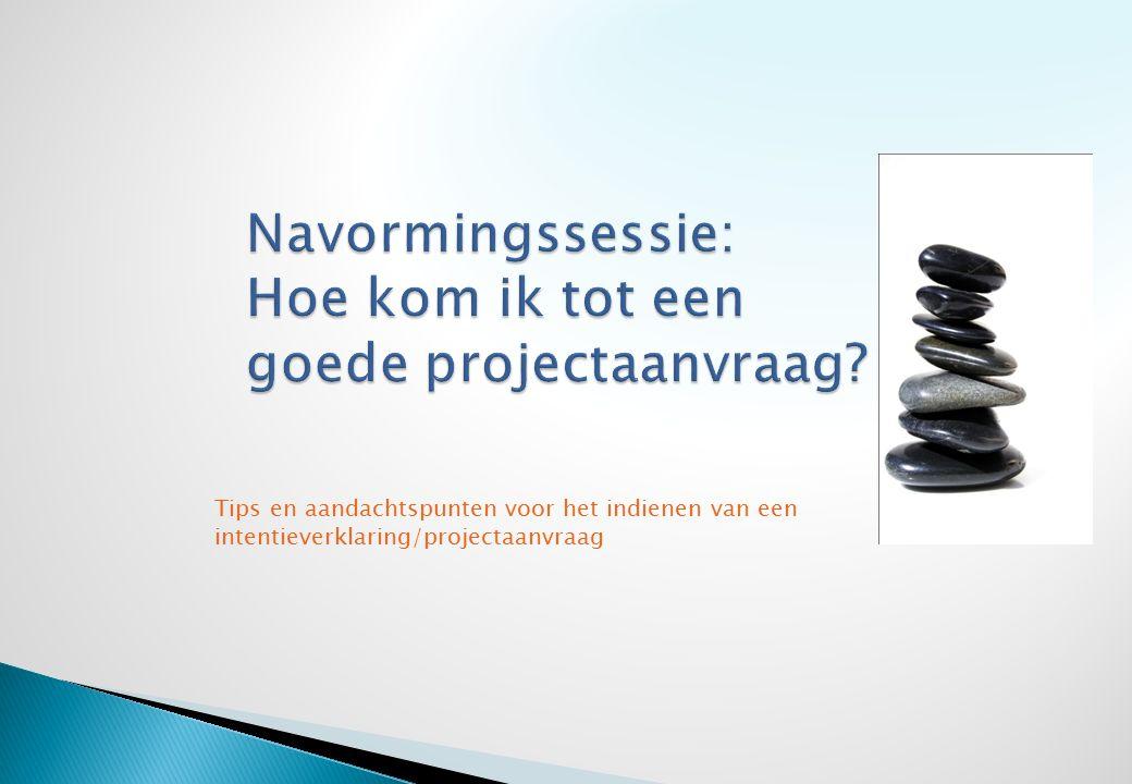  Projectnaam  Beschrijving/korte samenvatting  Projectmanager + partners  Vertrekpunt/beginanalyse  Doelstelling  Beperkingen en voorwaarden: risico- analyse/haalbaarheid