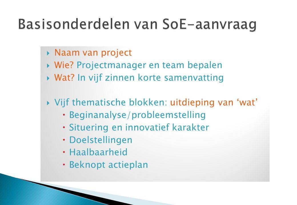  Naam van project  Wie.Projectmanager en team bepalen  Wat.