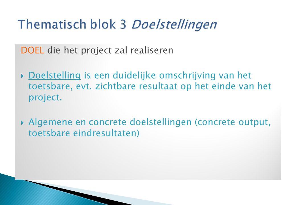 DOEL die het project zal realiseren  Doelstelling is een duidelijke omschrijving van het toetsbare, evt.