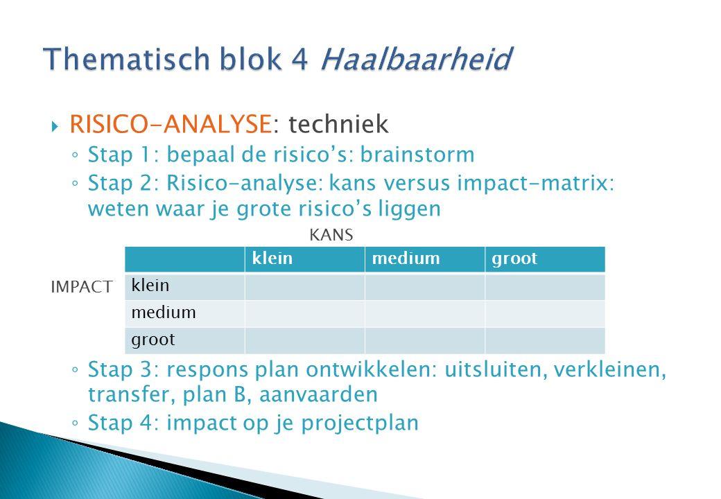  RISICO-ANALYSE: techniek ◦ Stap 1: bepaal de risico's: brainstorm ◦ Stap 2: Risico-analyse: kans versus impact-matrix: weten waar je grote risico's liggen KANS IMPACT ◦ Stap 3: respons plan ontwikkelen: uitsluiten, verkleinen, transfer, plan B, aanvaarden ◦ Stap 4: impact op je projectplan kleinmediumgroot klein medium groot