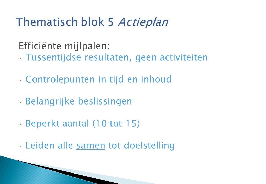 Efficiënte mijlpalen: Tussentijdse resultaten, geen activiteiten Controlepunten in tijd en inhoud Belangrijke beslissingen Beperkt aantal (10 tot 15) Leiden alle samen tot doelstelling