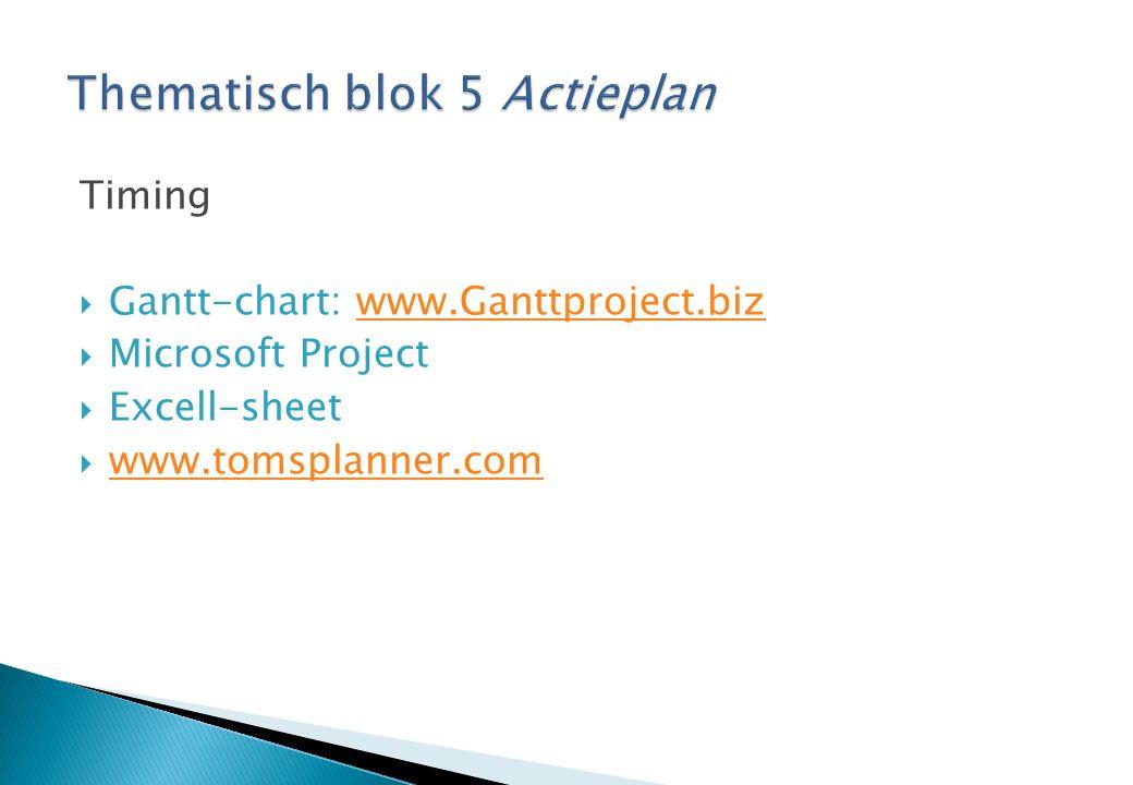 Timing  Gantt-chart: www.Ganttproject.bizwww.Ganttproject.biz  Microsoft Project  Excell-sheet  www.tomsplanner.com www.tomsplanner.com