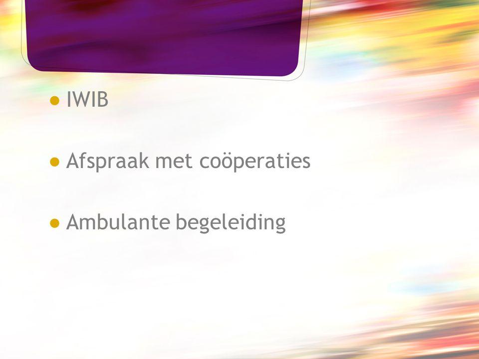 ● IWIB ● Afspraak met coöperaties ● Ambulante begeleiding