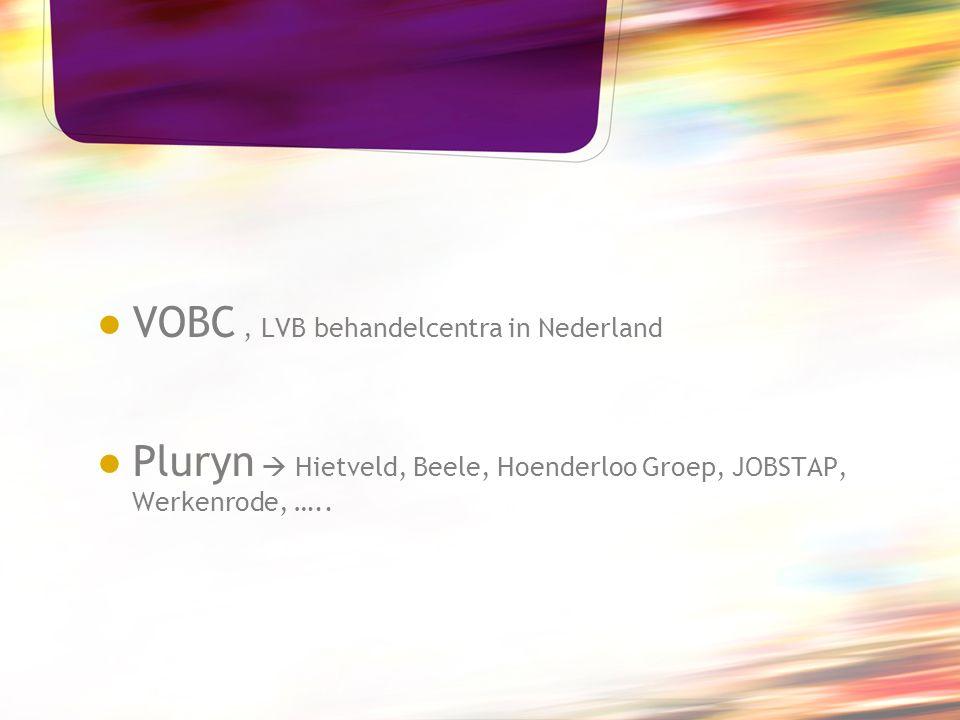 ● VOBC, LVB behandelcentra in Nederland ● Pluryn  Hietveld, Beele, Hoenderloo Groep, JOBSTAP, Werkenrode, …..
