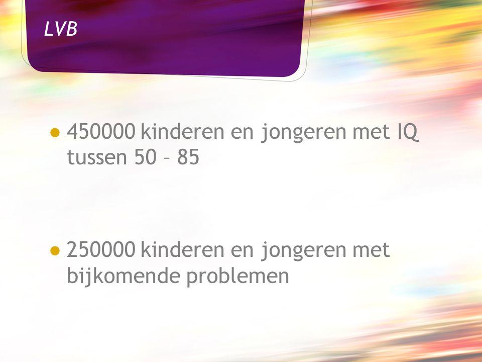 LVB ● 450000 kinderen en jongeren met IQ tussen 50 – 85 ● 250000 kinderen en jongeren met bijkomende problemen