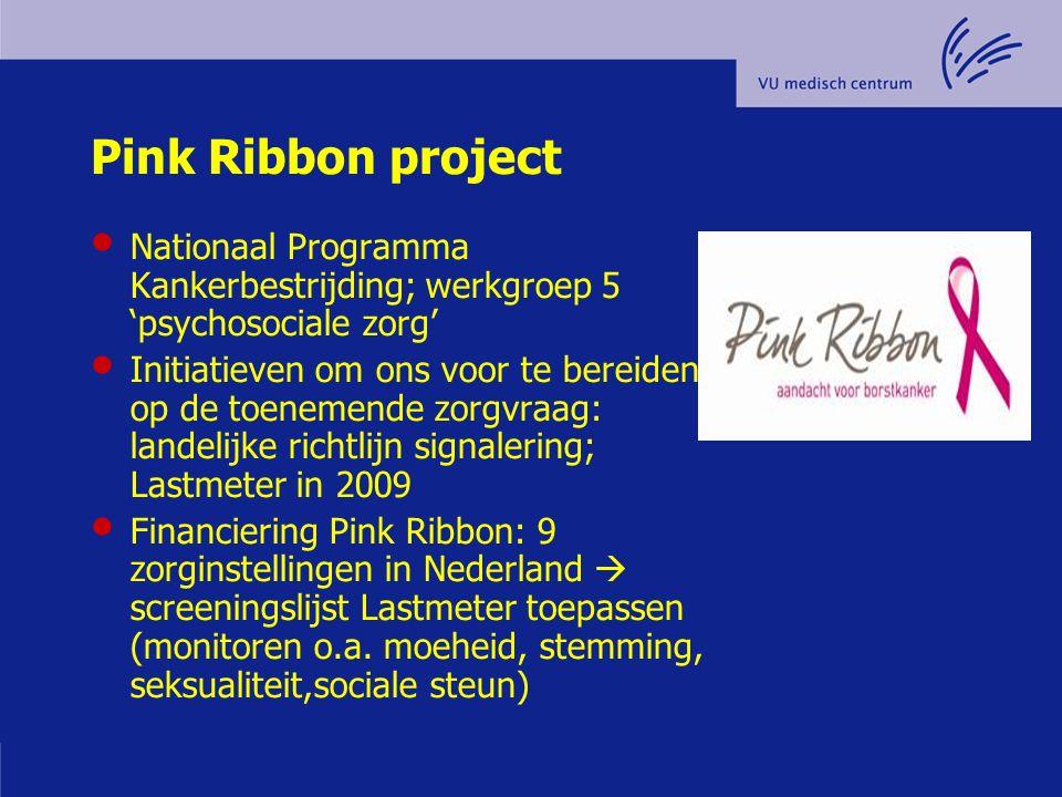 Pink Ribbon project Nationaal Programma Kankerbestrijding; werkgroep 5 'psychosociale zorg' Initiatieven om ons voor te bereiden op de toenemende zorg
