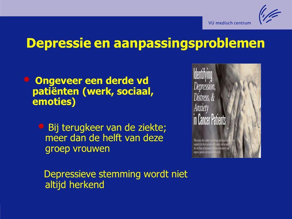 Depressie en aanpassingsproblemen Ongeveer een derde vd patiënten (werk, sociaal, emoties) Bij terugkeer van de ziekte; meer dan de helft van deze gro