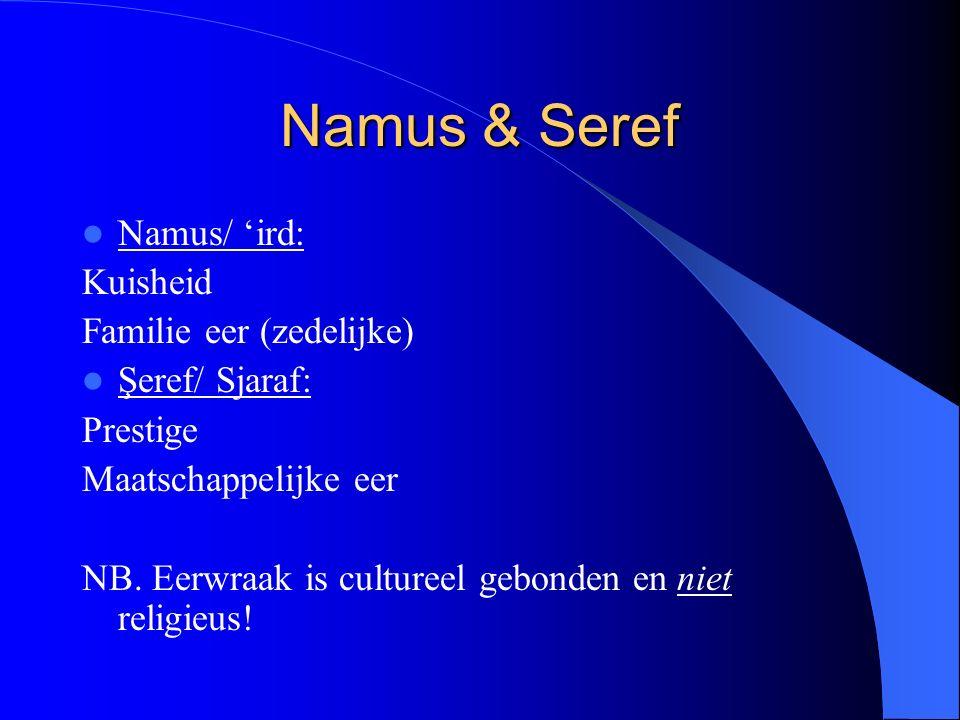 Namus & Seref Namus/ 'ird: Kuisheid Familie eer (zedelijke) Şeref/ Sjaraf: Prestige Maatschappelijke eer NB.