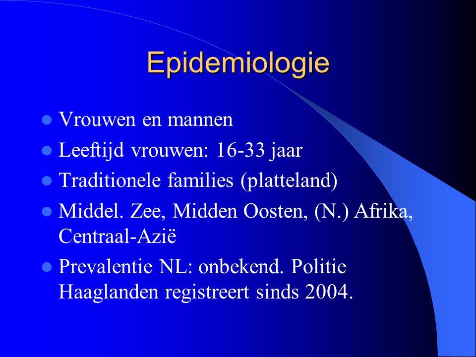 Epidemiologie Vrouwen en mannen Leeftijd vrouwen: 16-33 jaar Traditionele families (platteland) Middel.