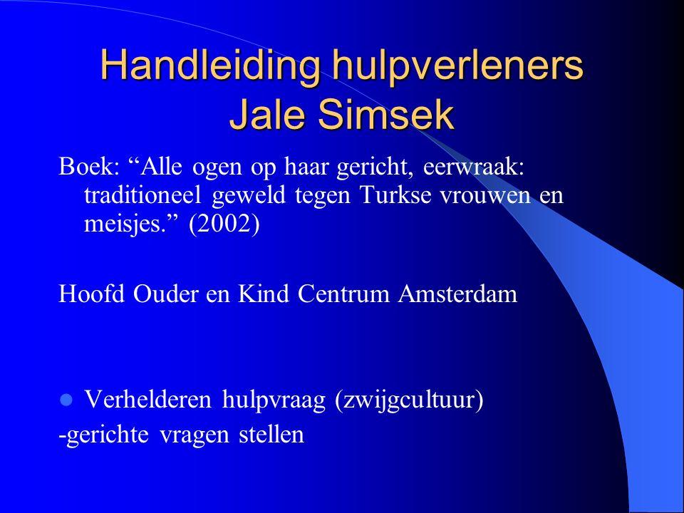 Handleiding hulpverleners Jale Simsek Boek: Alle ogen op haar gericht, eerwraak: traditioneel geweld tegen Turkse vrouwen en meisjes. (2002) Hoofd Ouder en Kind Centrum Amsterdam Verhelderen hulpvraag (zwijgcultuur) -gerichte vragen stellen