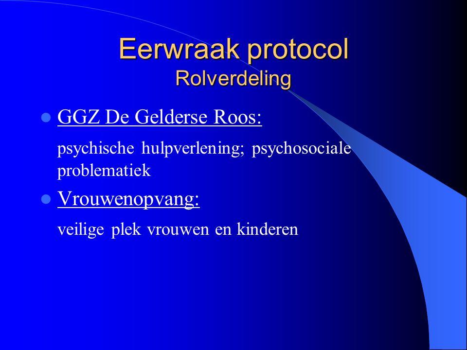 Eerwraak protocol Rolverdeling GGZ De Gelderse Roos: psychische hulpverlening; psychosociale problematiek Vrouwenopvang: veilige plek vrouwen en kinderen