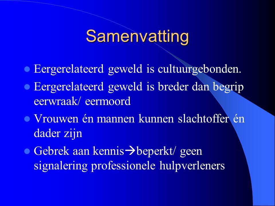 Samenvatting Eergerelateerd geweld is cultuurgebonden.
