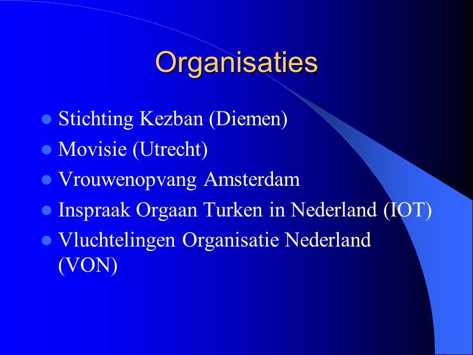 Organisaties Stichting Kezban (Diemen) Movisie (Utrecht) Vrouwenopvang Amsterdam Inspraak Orgaan Turken in Nederland (IOT) Vluchtelingen Organisatie Nederland (VON)