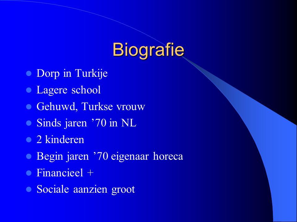 Biografie Dorp in Turkije Lagere school Gehuwd, Turkse vrouw Sinds jaren '70 in NL 2 kinderen Begin jaren '70 eigenaar horeca Financieel + Sociale aanzien groot