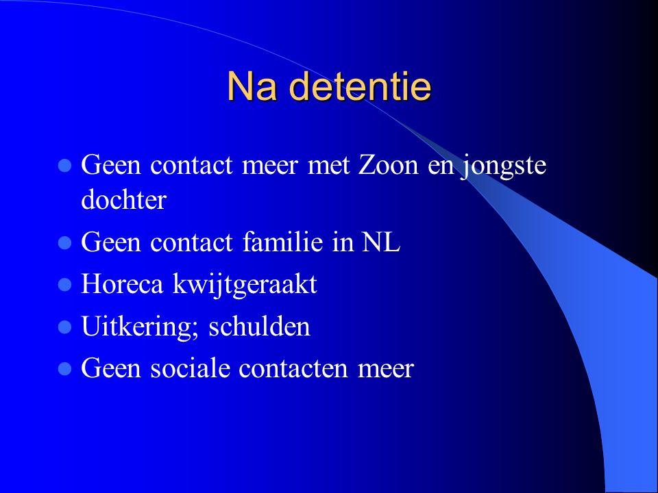 Na detentie Geen contact meer met Zoon en jongste dochter Geen contact familie in NL Horeca kwijtgeraakt Uitkering; schulden Geen sociale contacten meer