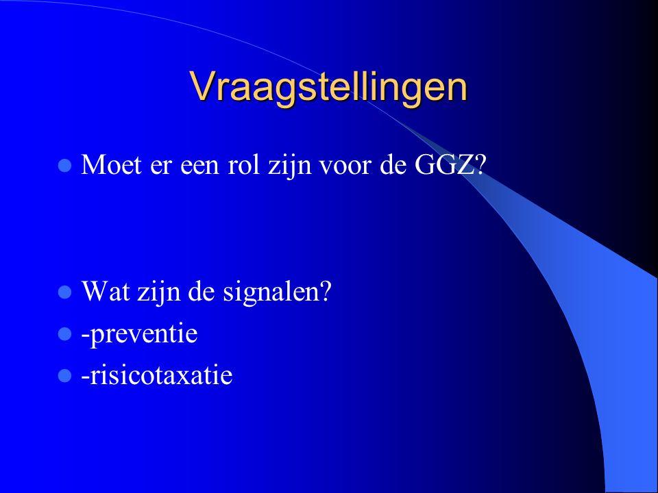 Vraagstellingen Moet er een rol zijn voor de GGZ Wat zijn de signalen -preventie -risicotaxatie