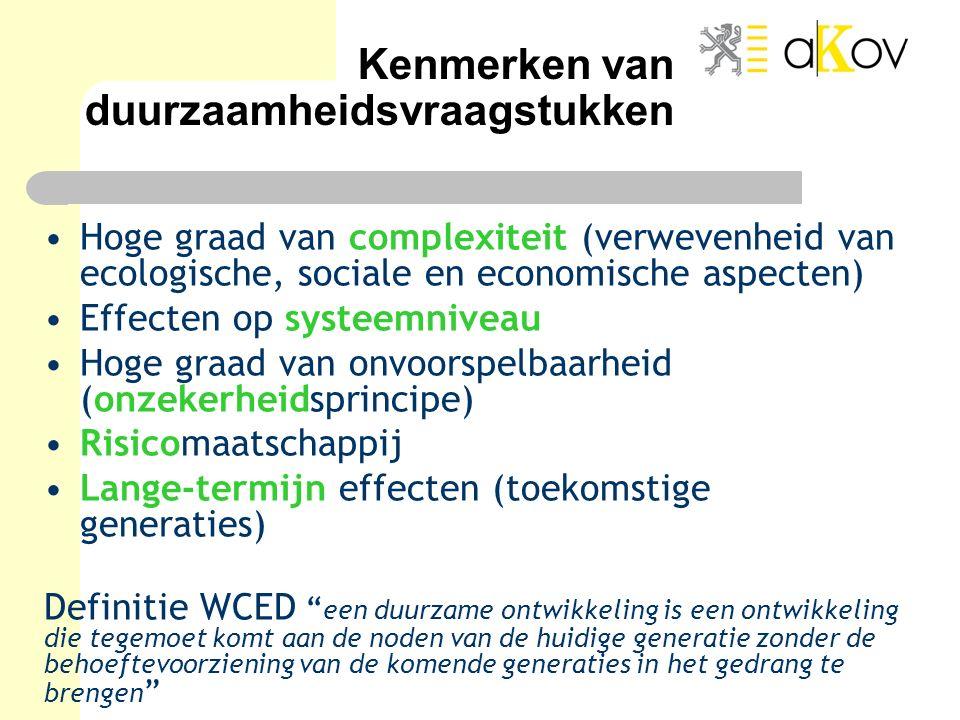 Kenmerken van duurzaamheidsvraagstukken Hoge graad van complexiteit (verwevenheid van ecologische, sociale en economische aspecten) Effecten op systee