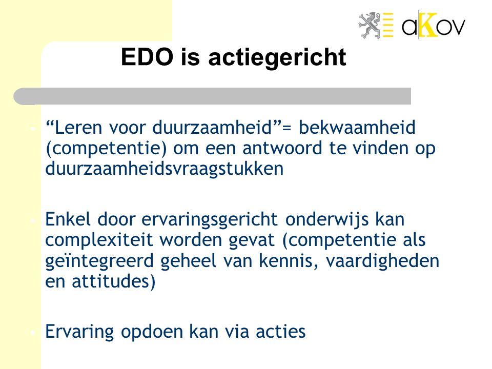 """EDO is actiegericht """"Leren voor duurzaamheid""""= bekwaamheid (competentie) om een antwoord te vinden op duurzaamheidsvraagstukken Enkel door ervaringsge"""